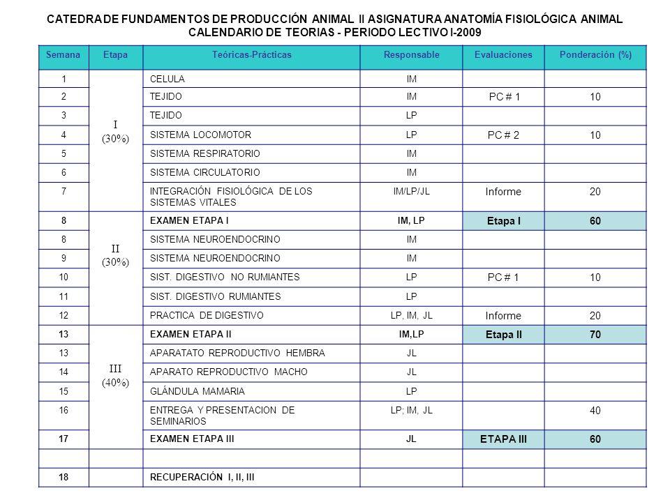 CALENDARIO DE TEORIAS - PERIODO LECTIVO I-2009