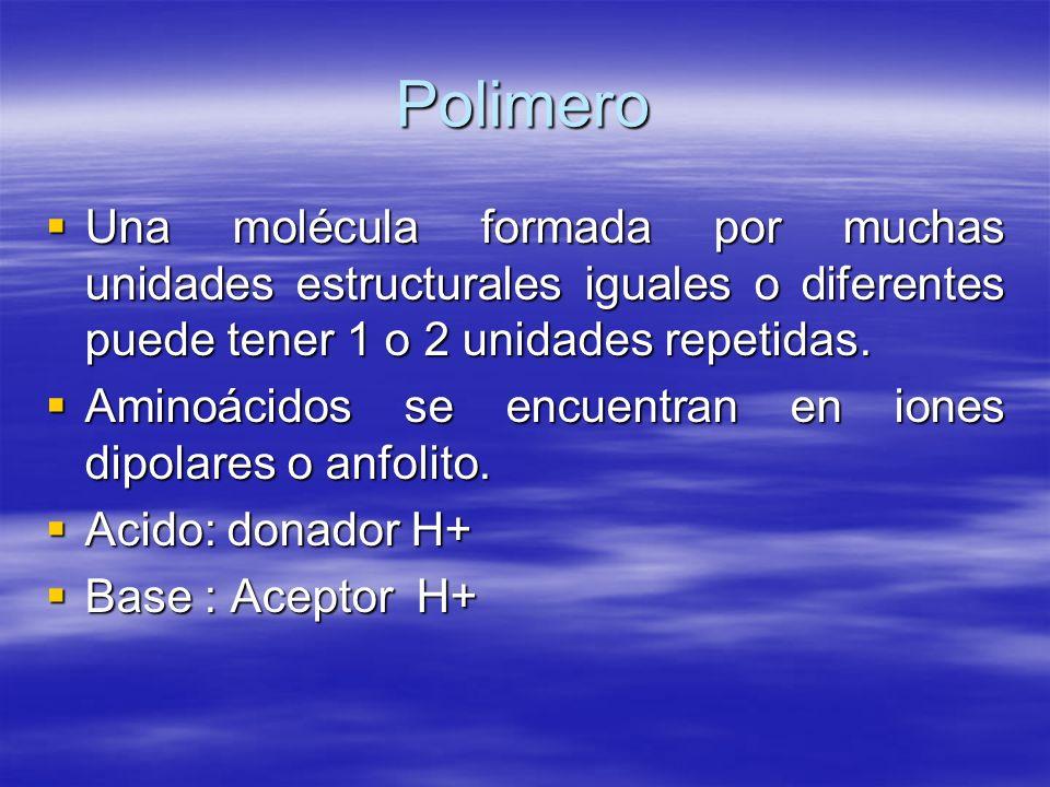 Polimero Una molécula formada por muchas unidades estructurales iguales o diferentes puede tener 1 o 2 unidades repetidas.