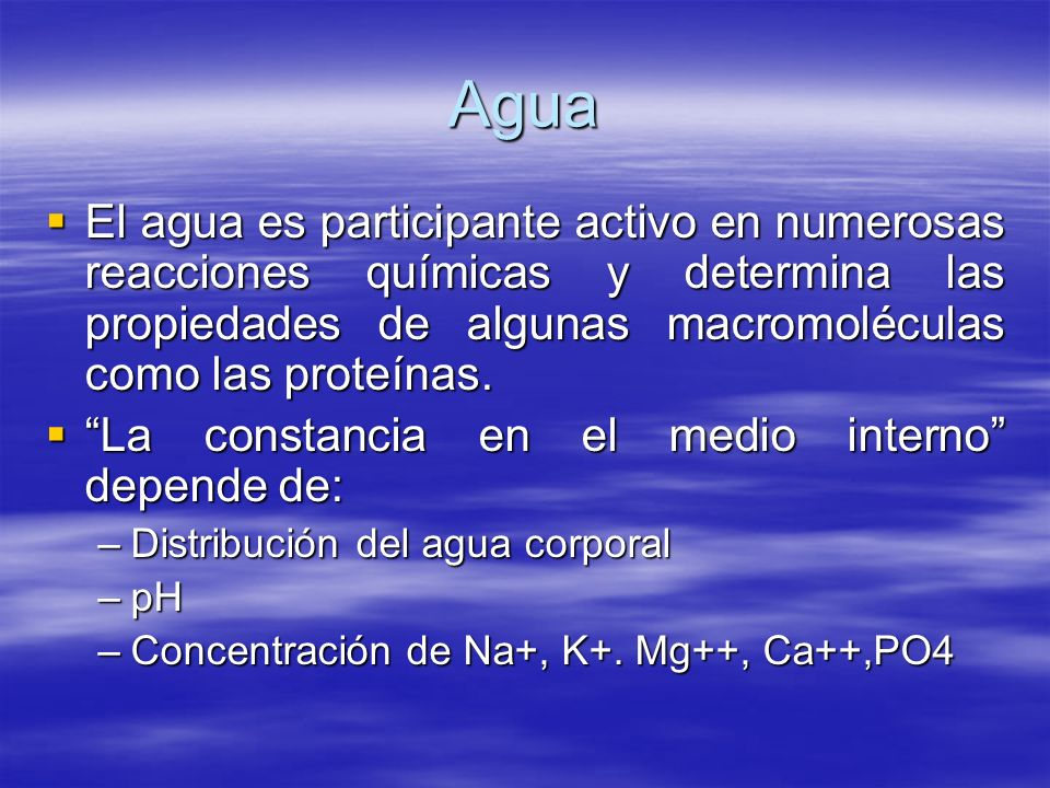 Agua El agua es participante activo en numerosas reacciones químicas y determina las propiedades de algunas macromoléculas como las proteínas.