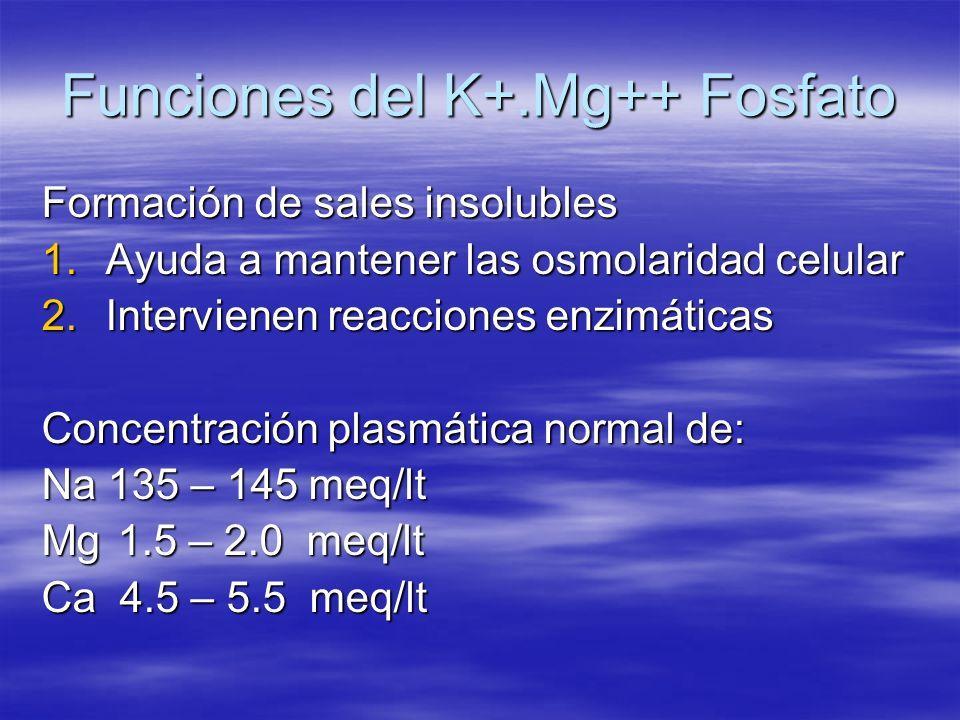 Funciones del K+.Mg++ Fosfato