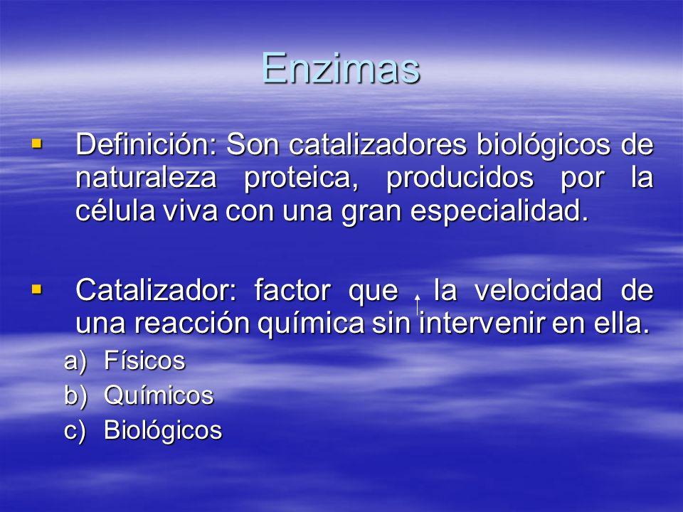 Enzimas Definición: Son catalizadores biológicos de naturaleza proteica, producidos por la célula viva con una gran especialidad.