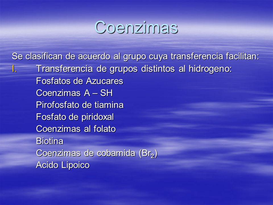 Coenzimas Transferencia de grupos distintos al hidrogeno: