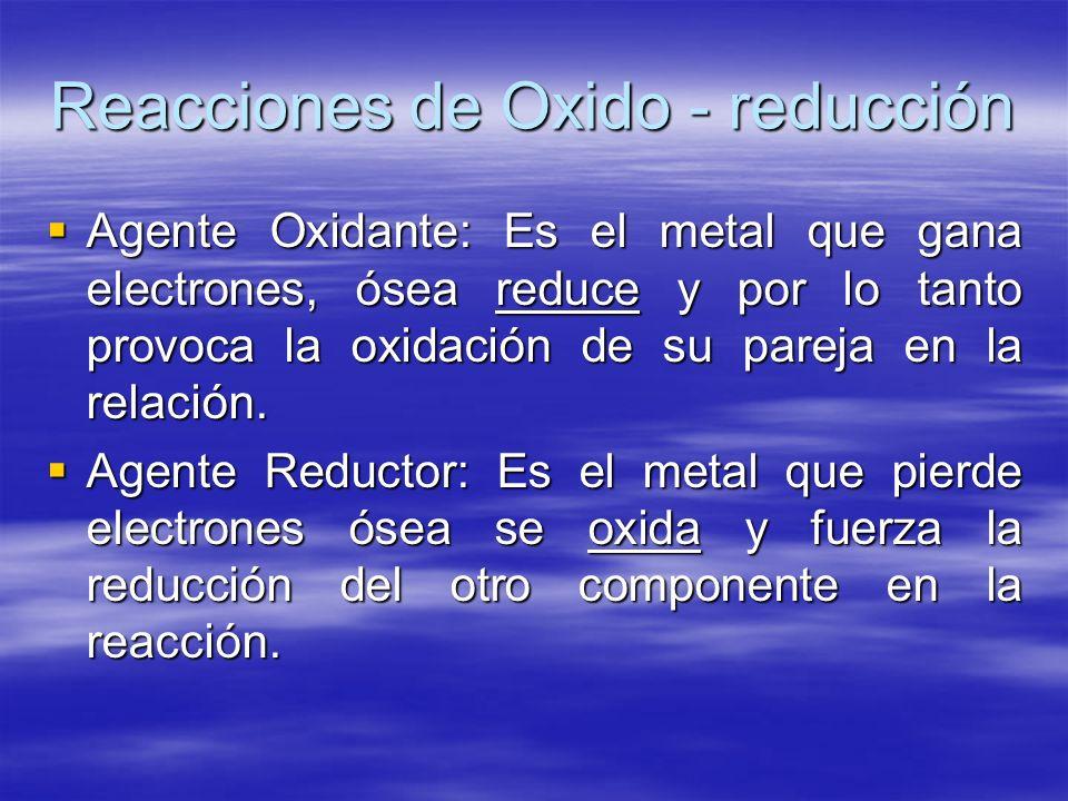 Reacciones de Oxido - reducción