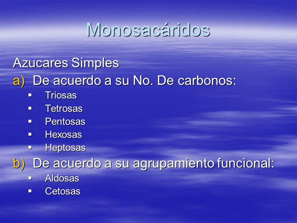 Monosacáridos Azucares Simples De acuerdo a su No. De carbonos: