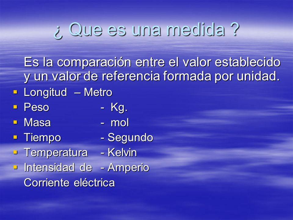 ¿ Que es una medida Es la comparación entre el valor establecido y un valor de referencia formada por unidad.
