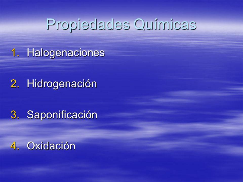Propiedades Químicas Halogenaciones Hidrogenación Saponificación