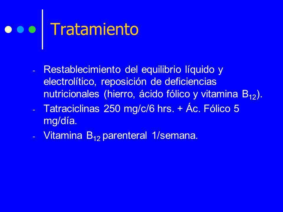 Tratamiento Restablecimiento del equilibrio líquido y electrolítico, reposición de deficiencias nutricionales (hierro, ácido fólico y vitamina B12).