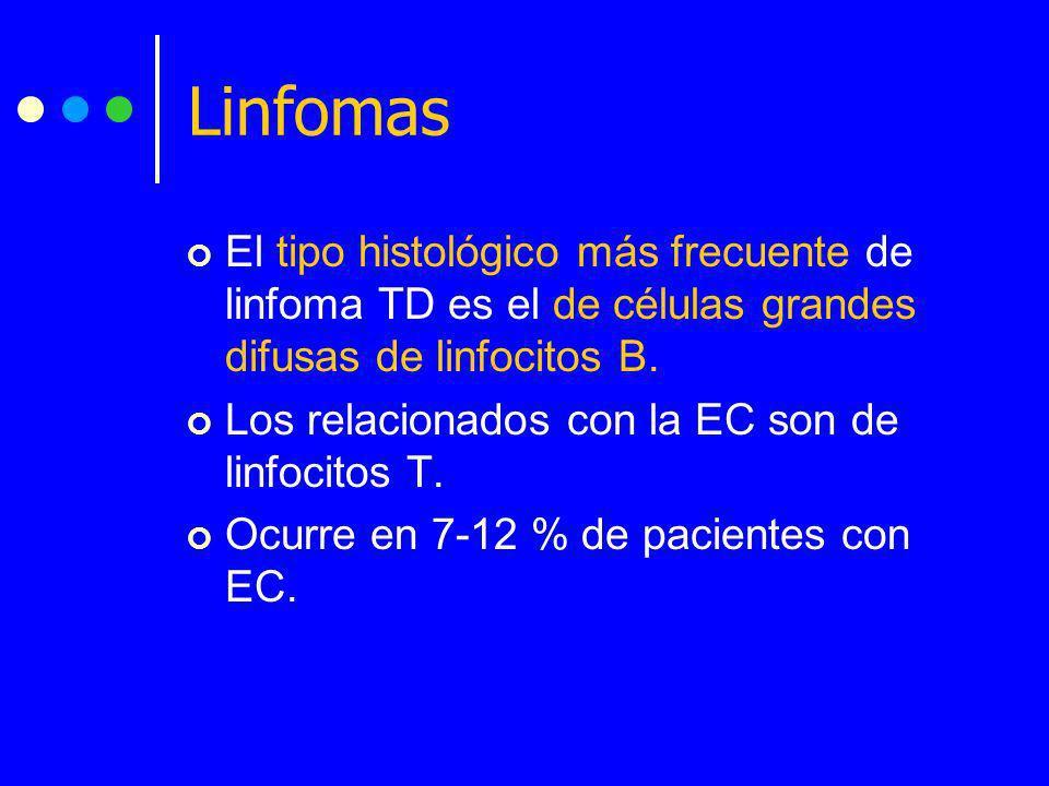 LinfomasEl tipo histológico más frecuente de linfoma TD es el de células grandes difusas de linfocitos B.