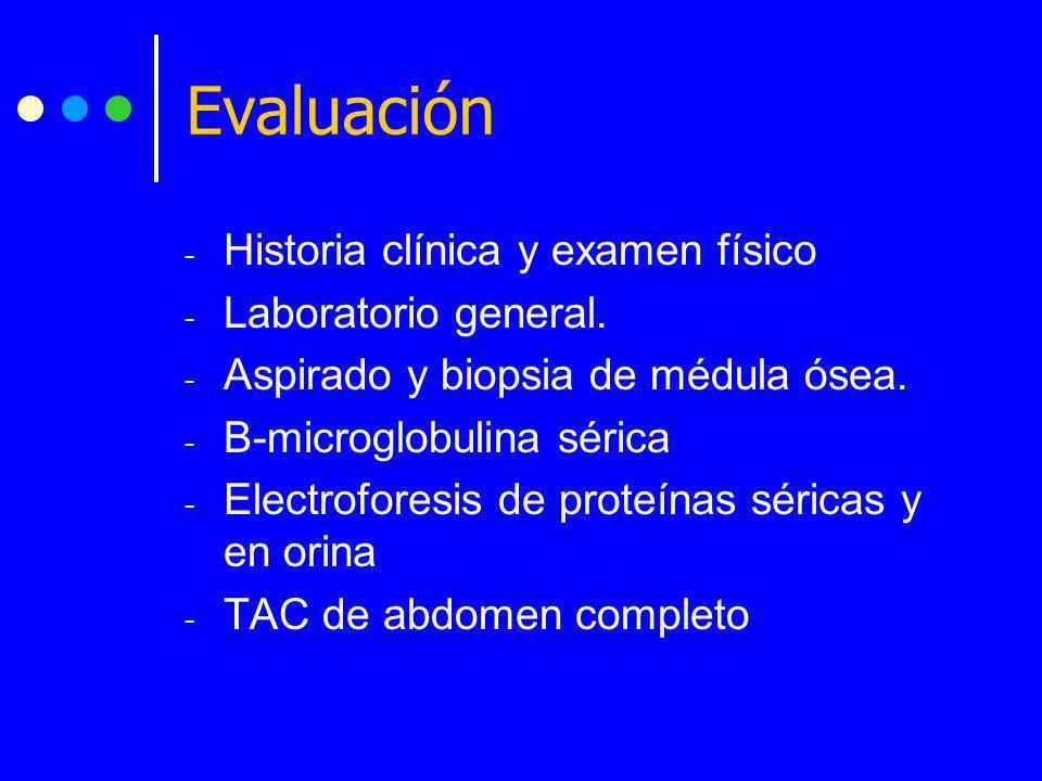Evaluación Historia clínica y examen físico Laboratorio general.