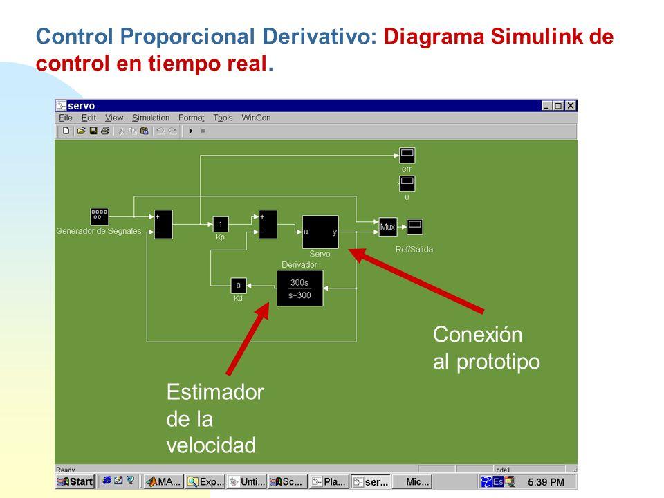 Control Proporcional Derivativo: Diagrama Simulink de control en tiempo real.