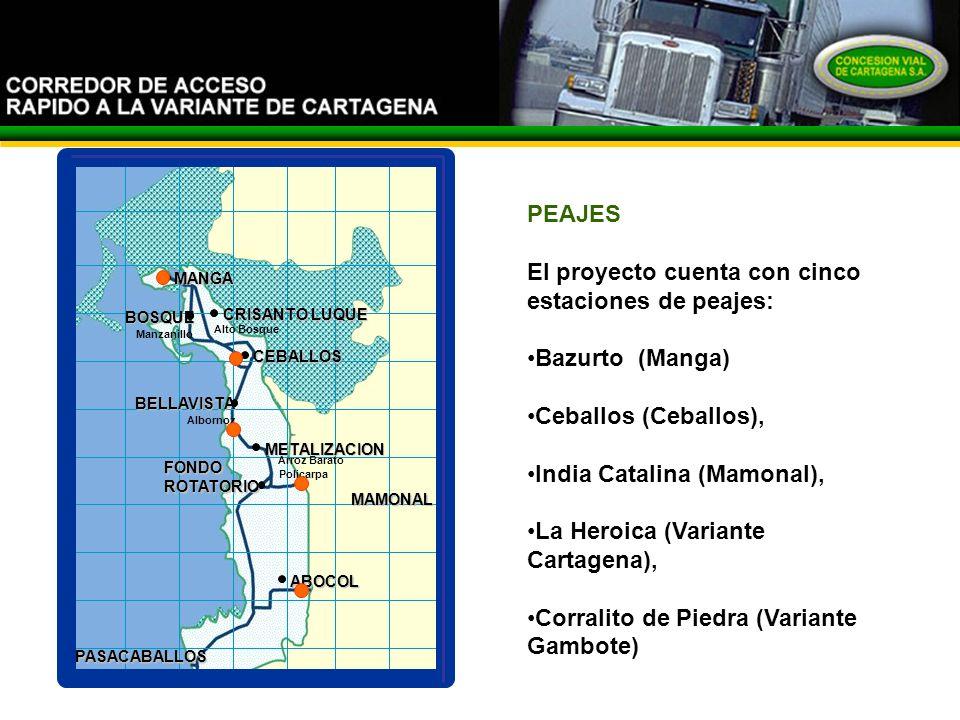 El proyecto cuenta con cinco estaciones de peajes: