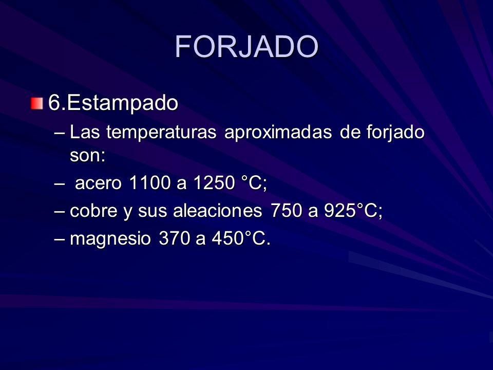 FORJADO 6.Estampado Las temperaturas aproximadas de forjado son: