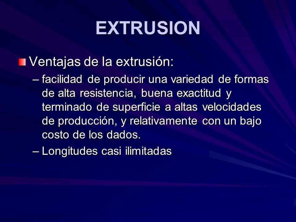 EXTRUSION Ventajas de la extrusión: