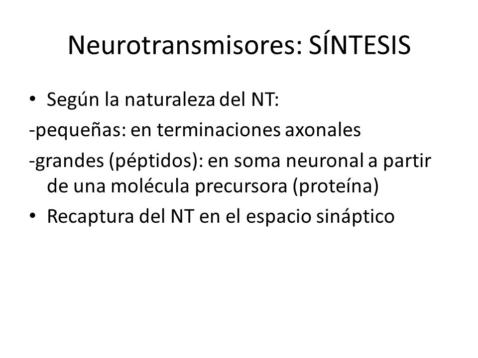 Neurotransmisores: SÍNTESIS