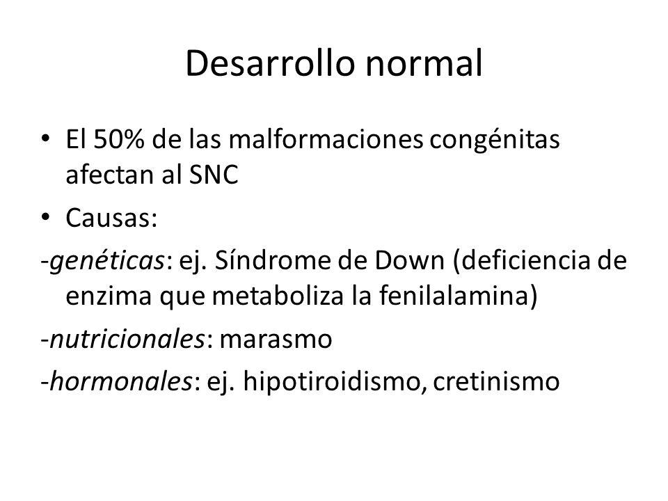 Desarrollo normal El 50% de las malformaciones congénitas afectan al SNC. Causas: