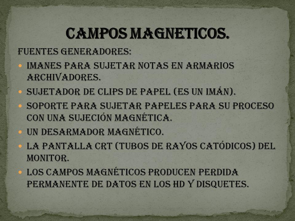 CAMPOS MAGNETICOS. Fuentes generadores: