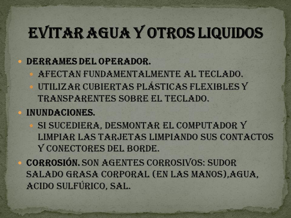 EVITAR AGUA Y OTROS LIQUIDOS