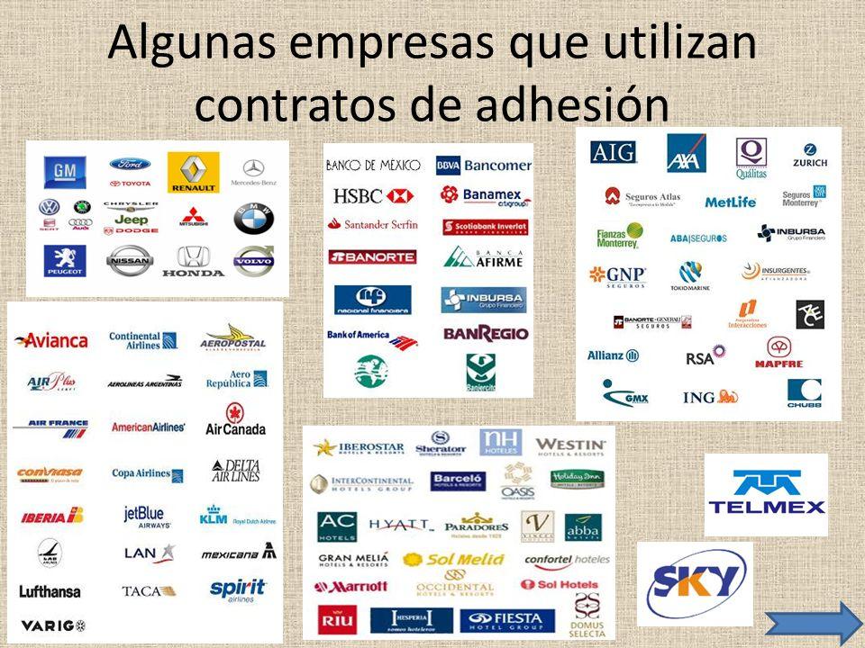 Algunas empresas que utilizan contratos de adhesión