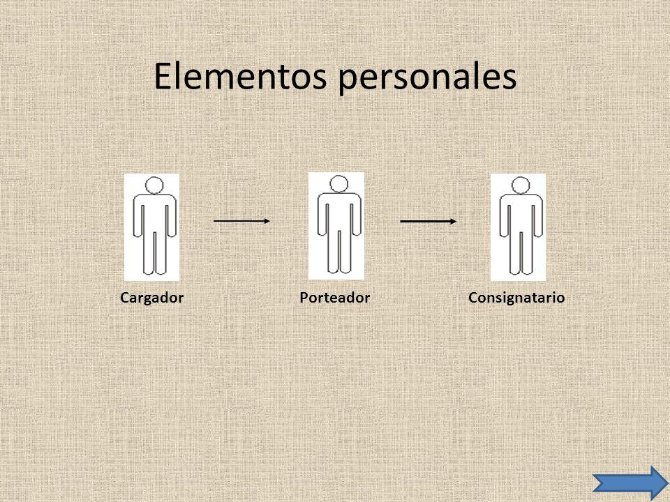 Elementos personales Cargador Porteador Consignatario