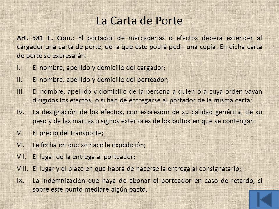 La Carta de Porte
