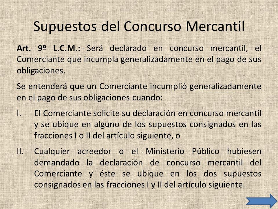 Supuestos del Concurso Mercantil