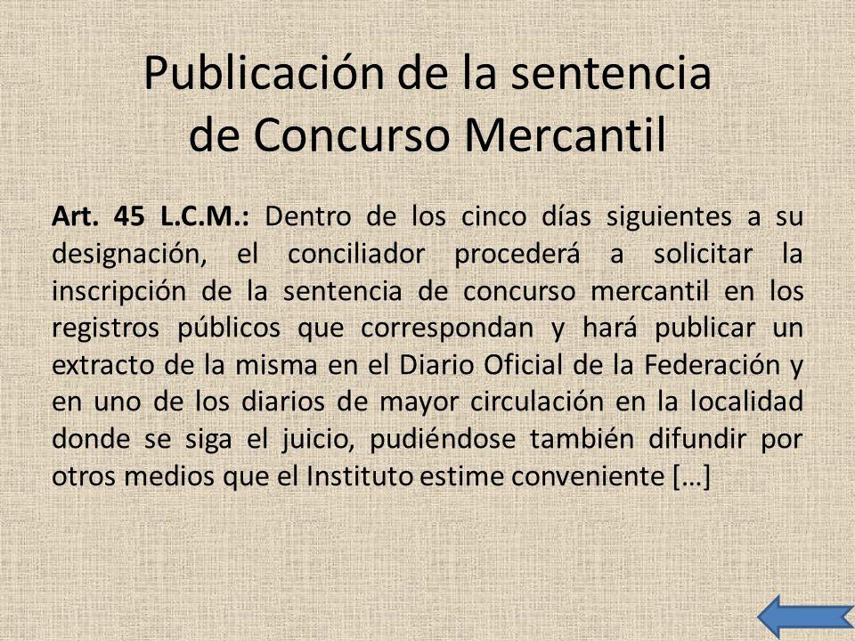 Publicación de la sentencia de Concurso Mercantil