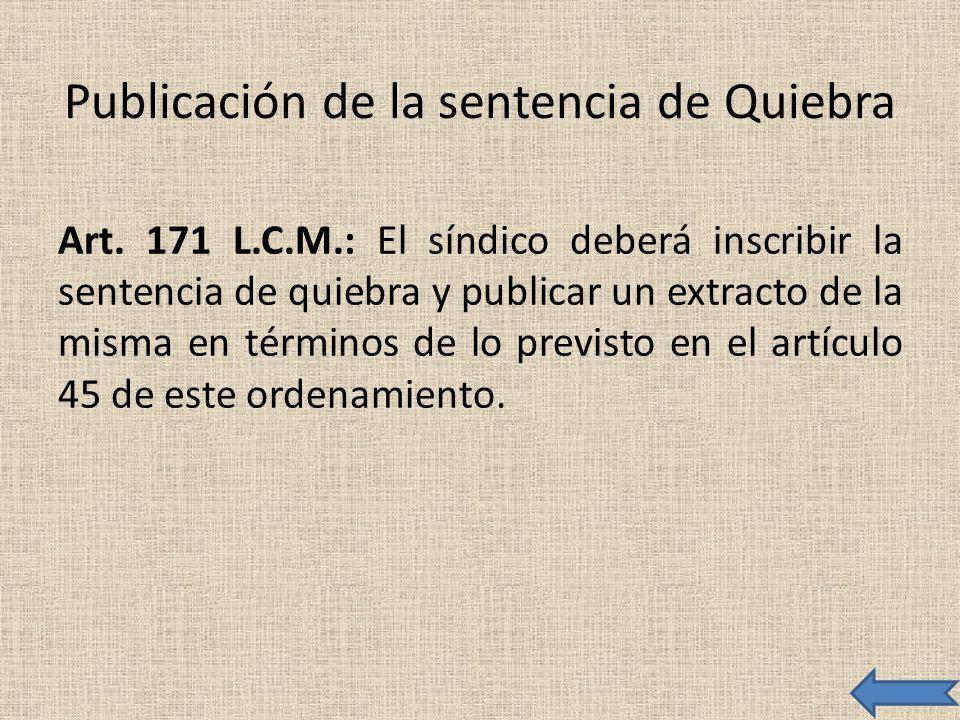 Publicación de la sentencia de Quiebra