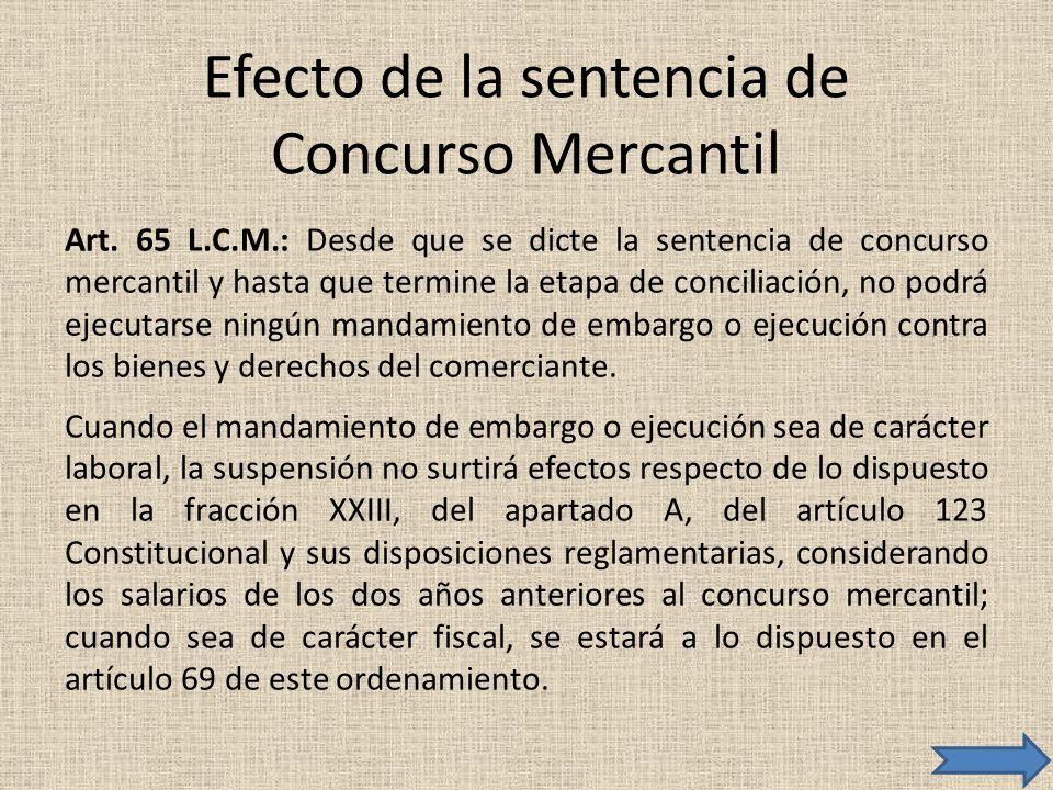 Efecto de la sentencia de Concurso Mercantil