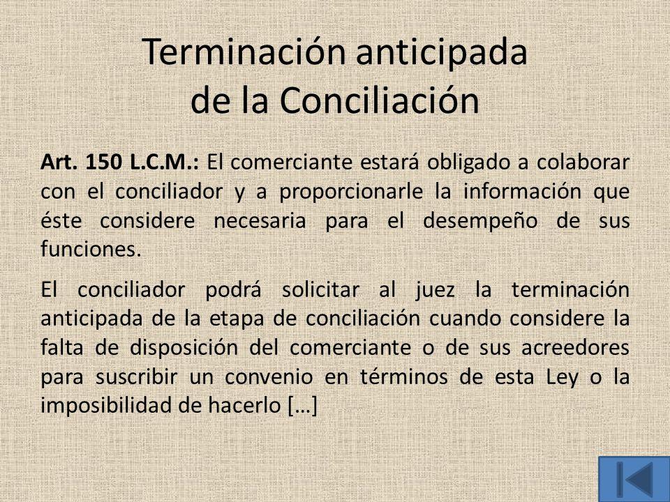 Terminación anticipada de la Conciliación