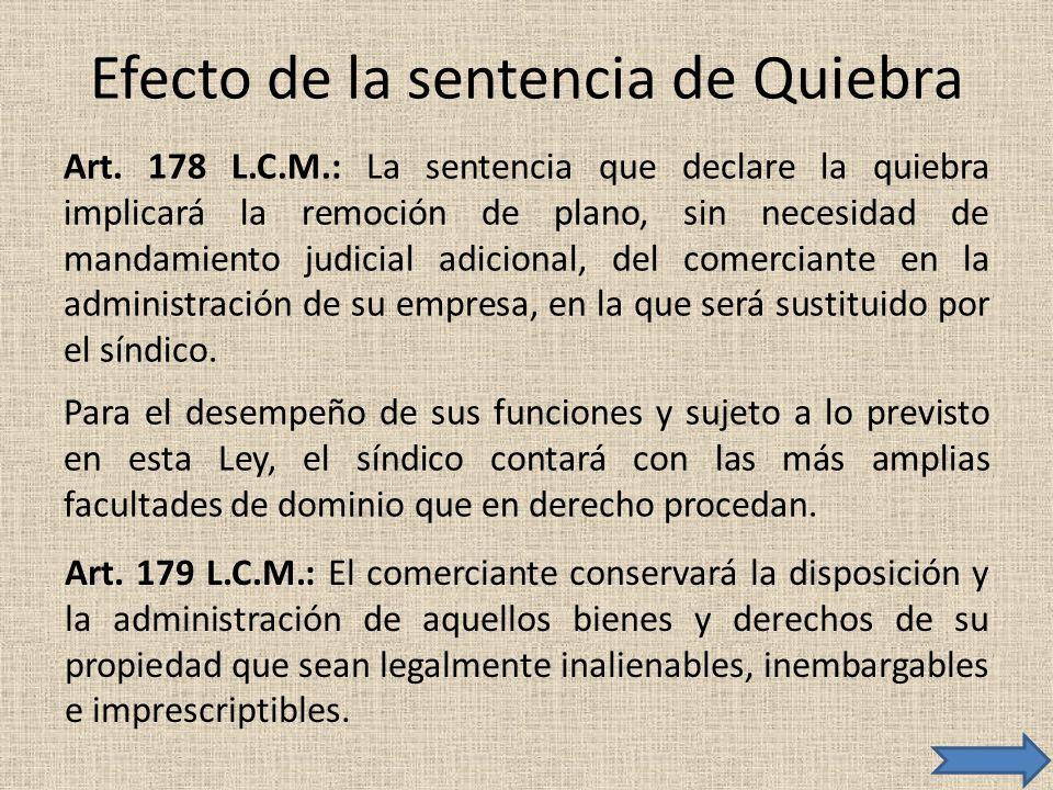 Efecto de la sentencia de Quiebra