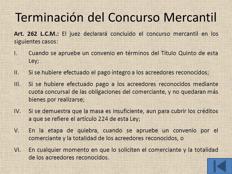 Terminación del Concurso Mercantil