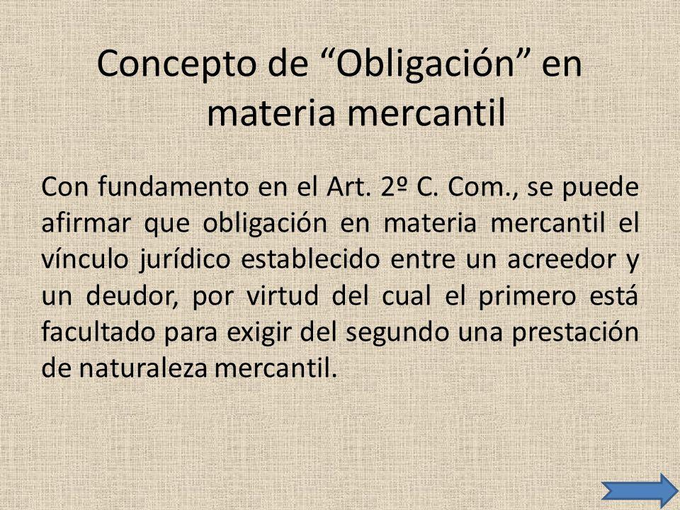 Concepto de Obligación en materia mercantil