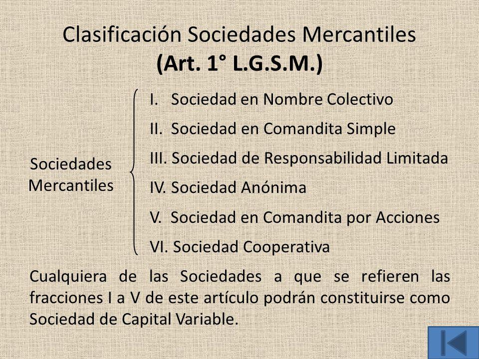 Clasificación Sociedades Mercantiles (Art. 1° L.G.S.M.)