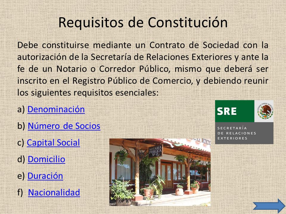 Requisitos de Constitución