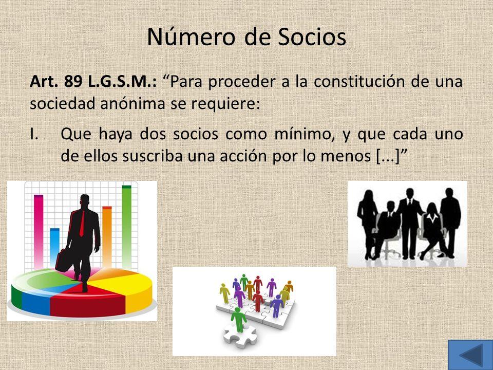 Número de Socios Art. 89 L.G.S.M.: Para proceder a la constitución de una sociedad anónima se requiere: