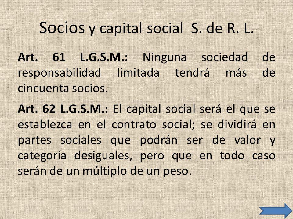 Socios y capital social S. de R. L.