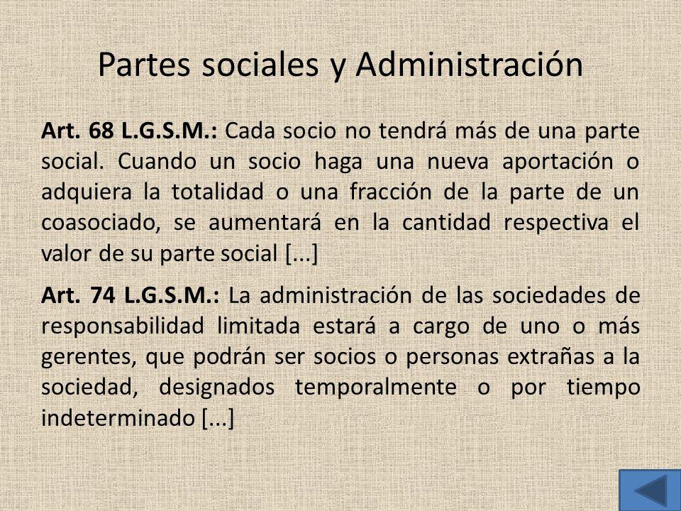 Partes sociales y Administración