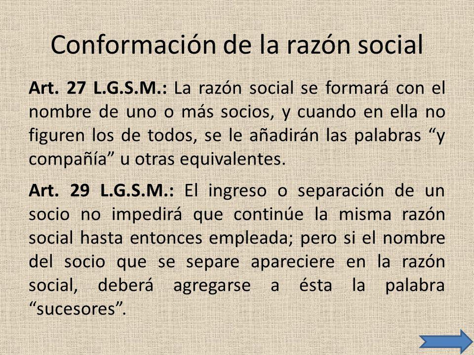 Conformación de la razón social
