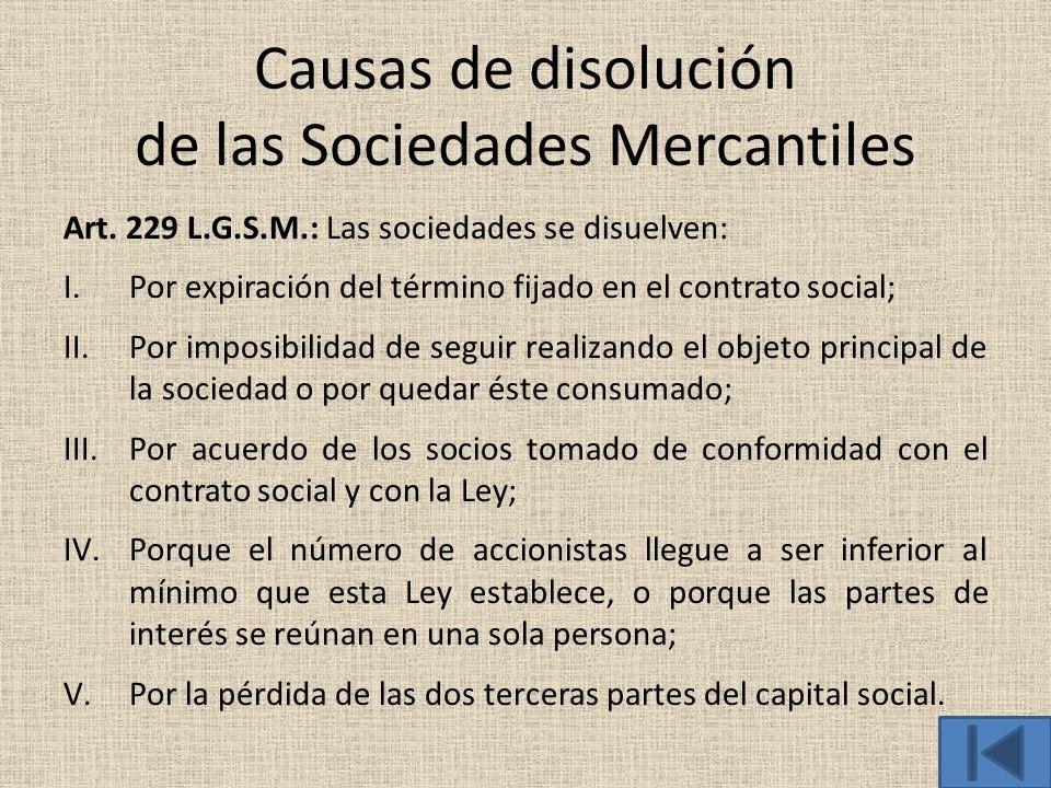 Causas de disolución de las Sociedades Mercantiles
