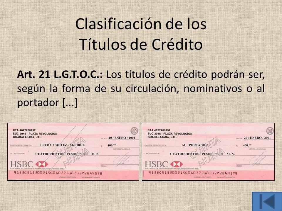 Clasificación de los Títulos de Crédito