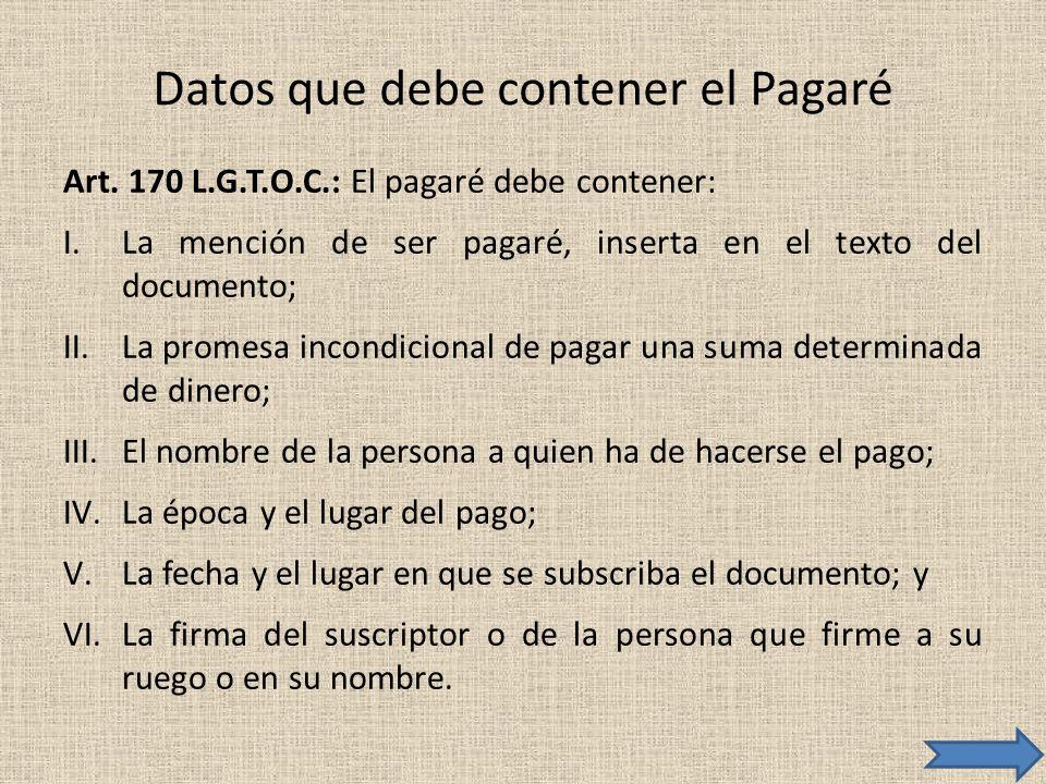 Datos que debe contener el Pagaré