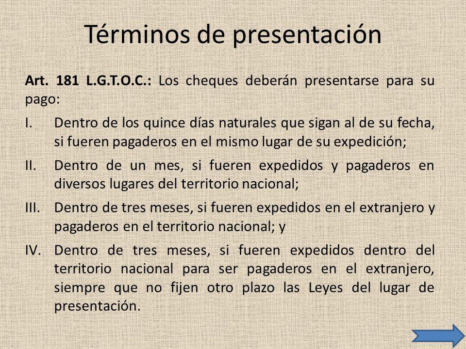 Términos de presentación