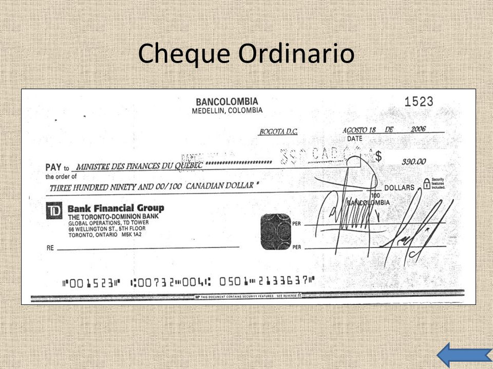 Cheque Ordinario