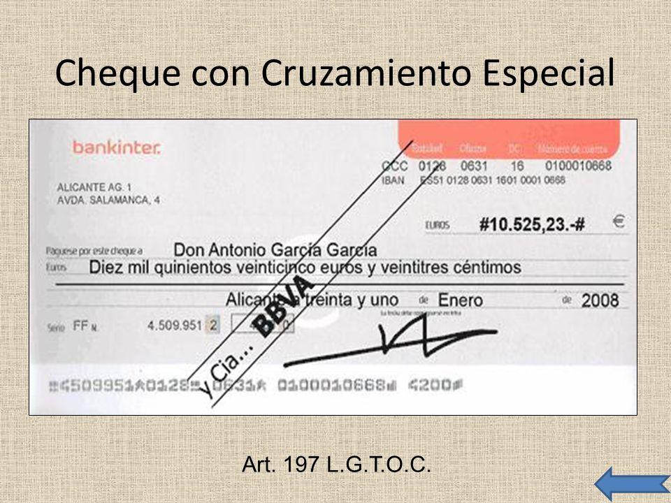 Cheque con Cruzamiento Especial