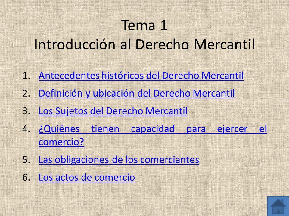 Tema 1 Introducción al Derecho Mercantil