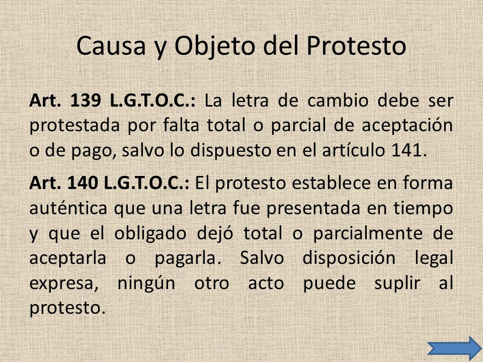 Causa y Objeto del Protesto