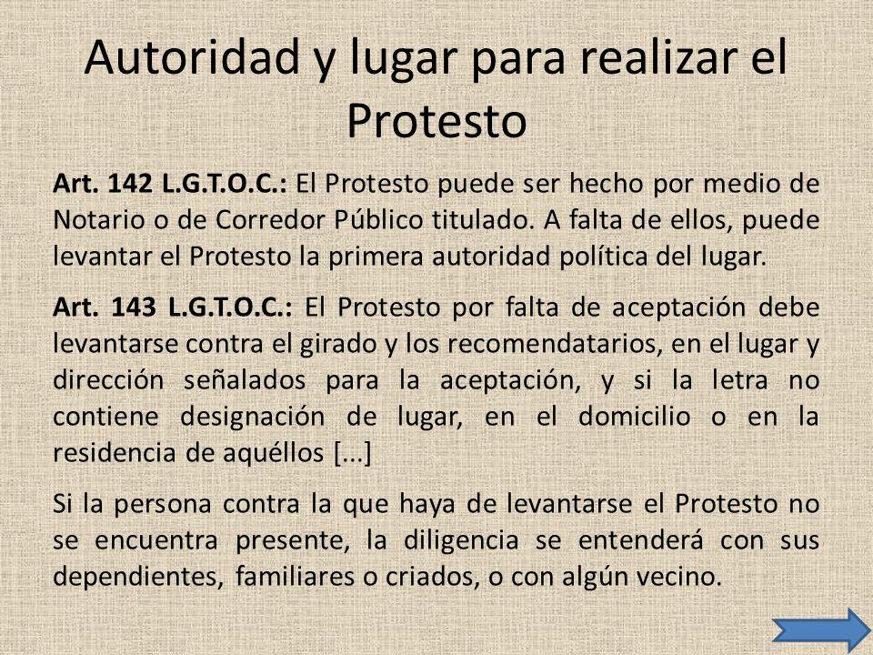 Autoridad y lugar para realizar el Protesto