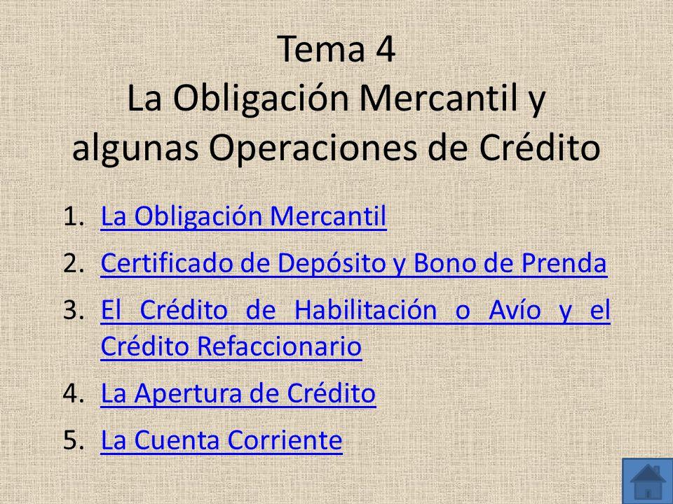 Tema 4 La Obligación Mercantil y algunas Operaciones de Crédito