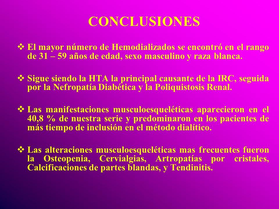 CONCLUSIONES El mayor número de Hemodializados se encontró en el rango de 31 – 59 años de edad, sexo masculino y raza blanca.