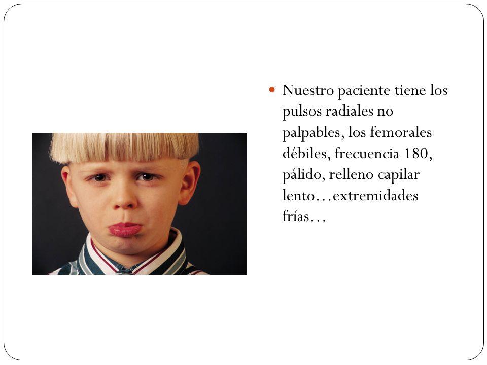 Nuestro paciente tiene los pulsos radiales no palpables, los femorales débiles, frecuencia 180, pálido, relleno capilar lento…extremidades frías…